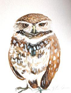 Watercolor Painting Original Owl Painting 9x12 by WoodPigeon