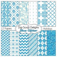 Sale Blue Glitter Digital Scrapbook  Papers by DigiScrapDelights