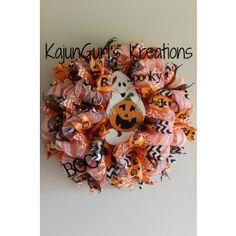 Ghostly Halloween Deco Mesh Wreath
