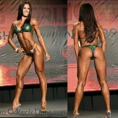 "Melissa Allen looking amazing at the 2014 Tampa Pro show. ""Heavy Crystal"" design, dark green shatterglass fabric with lots of ""medium vitriol"" Swarovski Crystals, top has L-60ab Gold and S-46ab Gold connectors, pro scrunch bottom has L-60ab Gold connectors."