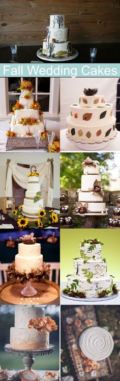 A great round-up of fall wedding cakes perfect for a fall, rustic or autumn wedding