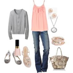 soft pink and grey, created by kristen-344.polyv...
