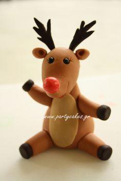 An utterly adorable little Fondant Reindeer. #food #fondant #cake #decorating #Christmas #reindeer #cute