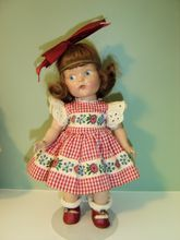 Lovely Painted Eye Vogue Ginny with Elastic Band & Tagged Dress - 1948