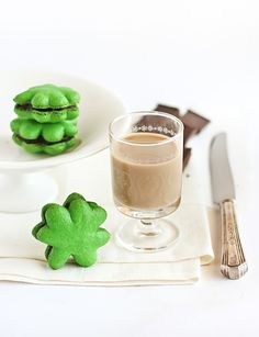 Shamrock Macarons with Baileys Chocolate Ganache by raspberri cupcakes, via Flickr