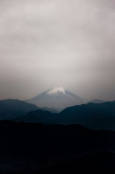 Mt. Fuji as seen from the summit of Mt. Takao in Tokyo Prefecture.