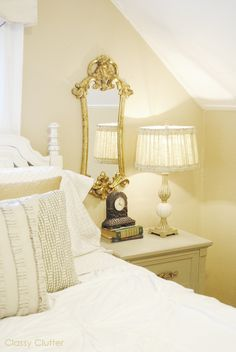 put a mirror above each nightstand to brighten up the bedroom!