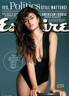 Penelope Cruz has been named Esquire magazine's Sexiest Woman Alive and celebrates by wearing a plunging one piece