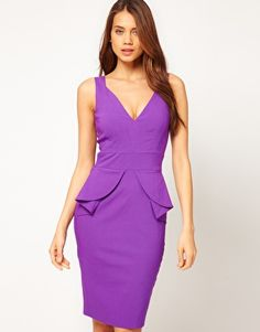 Hybrid | Hybrid Plunge Neck Peplum Midi Pencil Dress at ASOS