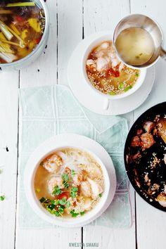 Spicy Thai shrimp, salmon and noodles soup
