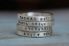kids names on rings. Cute gift for moms.