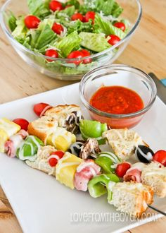 Pizza Kabobs!  So easy to make, a hit with the kids and a great way to use up leftovers.