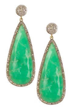 Chrysoprase & Diamond Teardrop Dangle Earrings