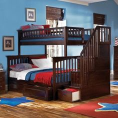 Bunk beds! Love how the stairs have drawers in them!