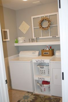 I like the shelving between the washer and dryer.