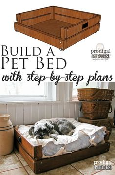 "Build a Pet Bed with Step-By-Step Plans & Tutorial by Prodigal Pieces | <a href=""http://www.prodigalpieces.com"" rel=""nofollow"" target=""_blank"">www.prodigalpiece...</a>"