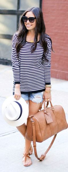 6pm Black And White Stripe Long Sleeve Drop Shoulder Nautical Jersey