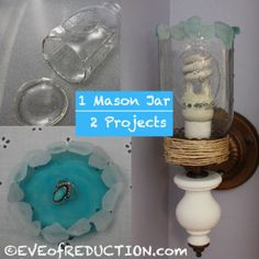 Upcycled Mason Jar: 2 in 1Craft Project - jewelry dish and sconce.