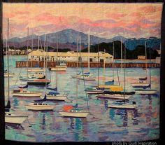 Monterey at Dusk by Melinda Bula.  West Coast Wonders quilt exhibit, 2013 Houston IQF, photo by Quilt Inspiration