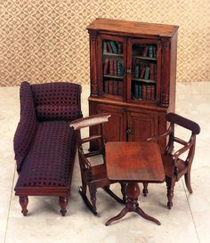 Mid-19th Century English Mahogany Furniture for the Library