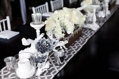 Silver + white wedding decor ideas
