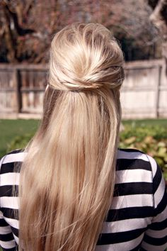 This is a gorgeous hairstyle. �It takes the same amount of time to put your hair half up in a bobby pin as it does an elastic band. �Ya know what? �I�d argue it takes less time. �And it�s better�