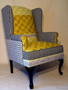 Upcycled Wingback Chair with Designers Guild by ArtandDesignGroup