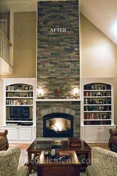 two story fireplace with no corners - faux rock stops at the wood trim corner.