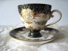 Vintage Demitasse Cup and Saucer Black