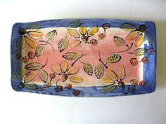 Handmade Stoneware Platter Coral Blue Floral by JoyceSloanim, $55.00