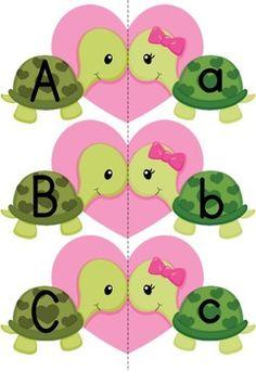 Alphabet Match-Up - Valentine Turtles {FREE}