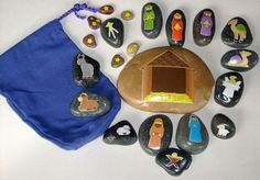 Nativity Story Stones - Not painted but decoupaged  #StoryStones