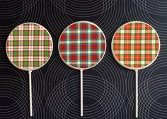 For the buttoned-up sugar fanatic: tartan lollipops. $7.50