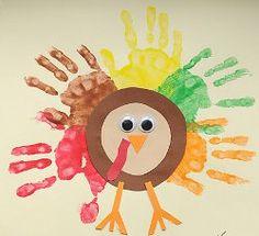 Classic Handprint Turkeys. A Thanksgiving crafts for kids.    #Thanksgiving #kidscrafts #handprints