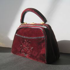Vintage Red Velvet Purse by threadsandpins on Etsy