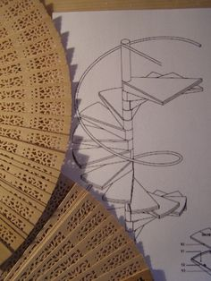 "Spiral ""wrought iron"" staircase made  with wood hand fan tutorial.."