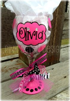 Pink and Girly Personalized Wine Glass.