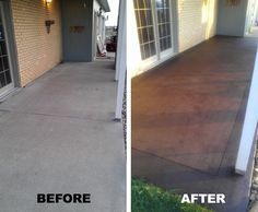 Back patio stained concrete