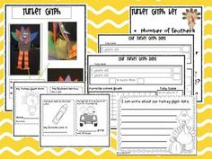 TURKEY GLYPH MATH AND LITERACY FUN {ALIGNED WITH COMMON CORE} - Turkey glyph instructions with patterns, glyph key questions, data analysis sheets, turkey glyph blackline master book, writing sheets.  The turkey glyph makes the perfect shelf sitter or center piece for Thanksgiving fun!