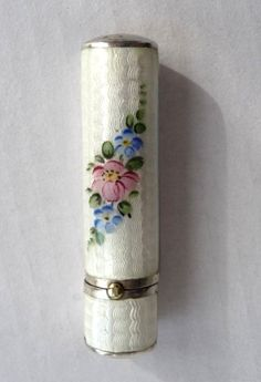 Snowy White Enamel Guilloche Lipstick with Hand-Painted Flowers