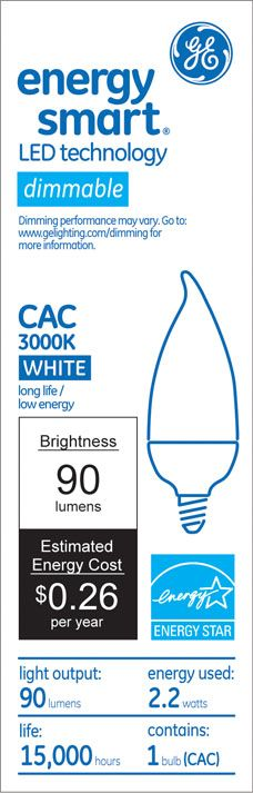 GE Energy Smart 10W Replacement (2.2W) Candle CA11 LED Bulb (Warm, Dim, Frosted, E12) $19.95
