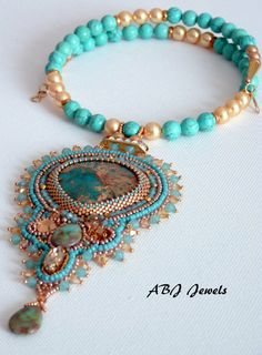 Turquoise and gold embroidered collar by AllByJo on Etsy, €95.00