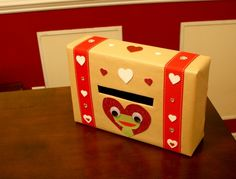 DIY valentine box - made from a cereal box