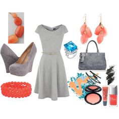 Grey Coral Teal by mrspellham on Polyvore