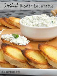 Herbed Ricotta Bruschetta   Real Housemoms #appetizer #herbs #ricotta