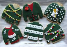 cooki idea, christma cooki, christmas lights, christmas sweaters, sweater cooki
