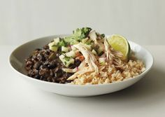 black beans and rice with apple salsa