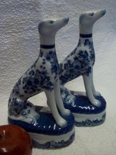 "Blue White Greyhound Dog Porcelain Figurines 9"""