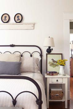 Mississippi bedroom bed frames, iron bed, white bedding, hous, cottage bedrooms