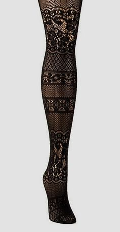 Black Floral Patch Fishnet Tights